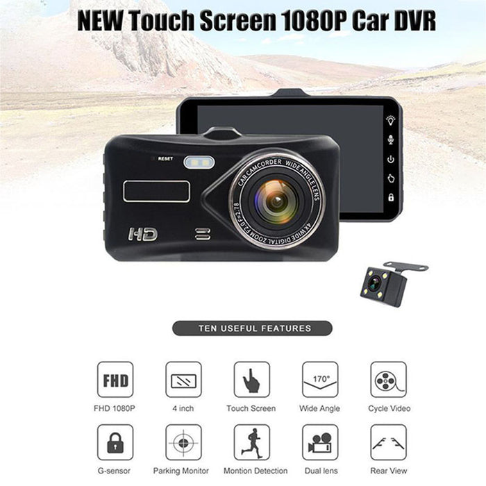 4.0-inch IPS Touch Screen Vehicle Recorder Full HD 1080P Dual Lens Reversing Camera