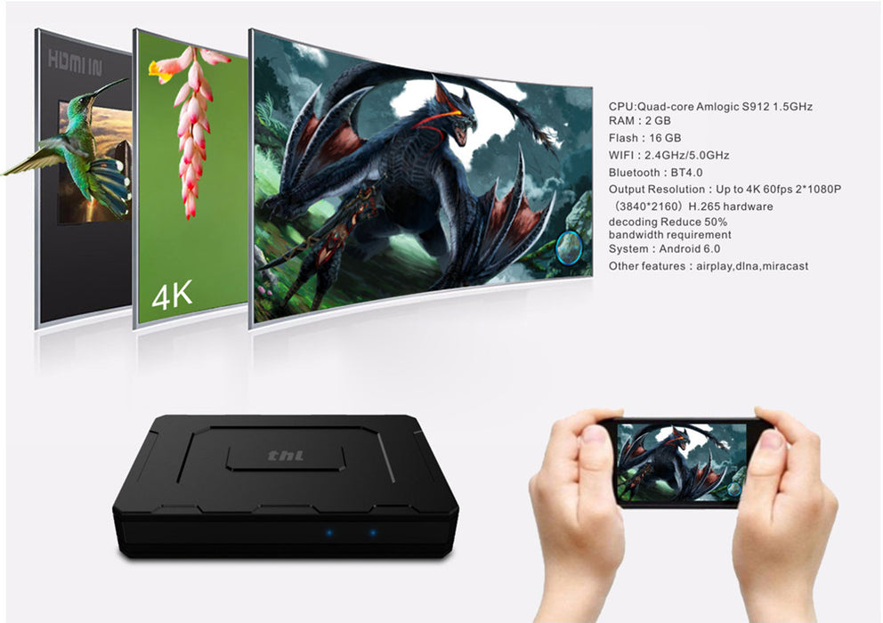 THL Super Box - 4K Support, Wifi Hotspot, APP, Octa Core, Support h.265, Miracast, Android 6.0, File Share