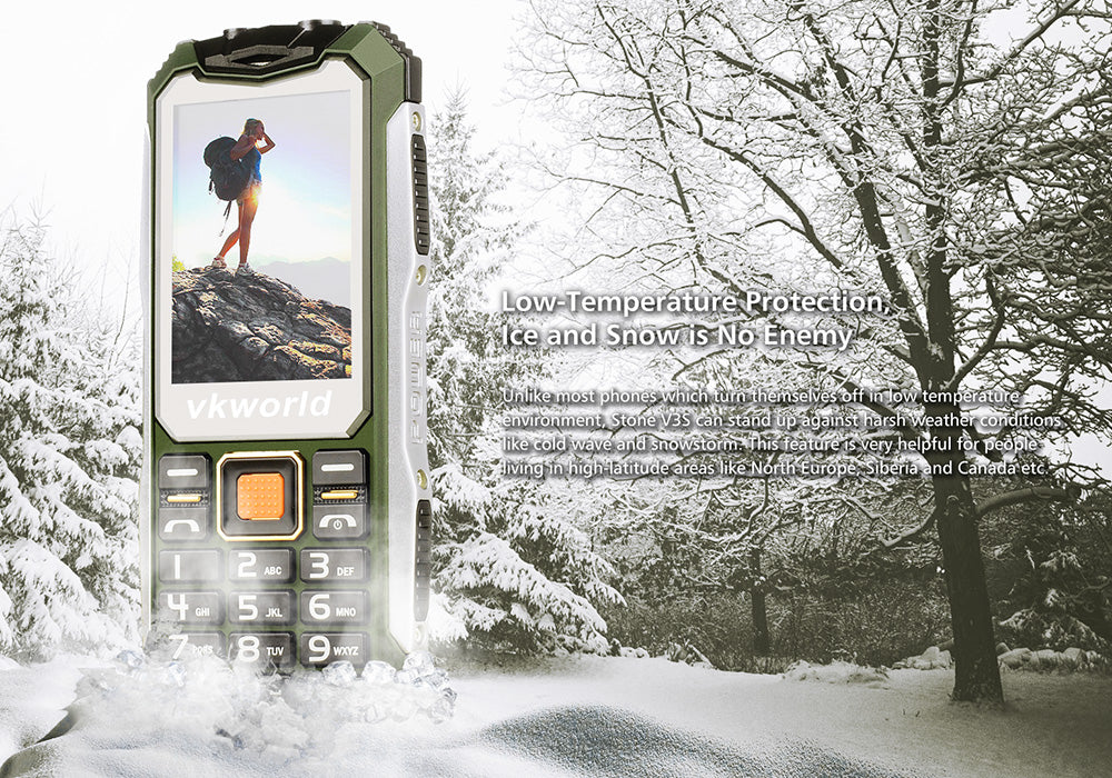 VKWorld Stone V3S Rugged Phone - IP54 Waterpoof + Dust Proof, Dual SIM, Quad Band, 2200MAH Battery (Green)