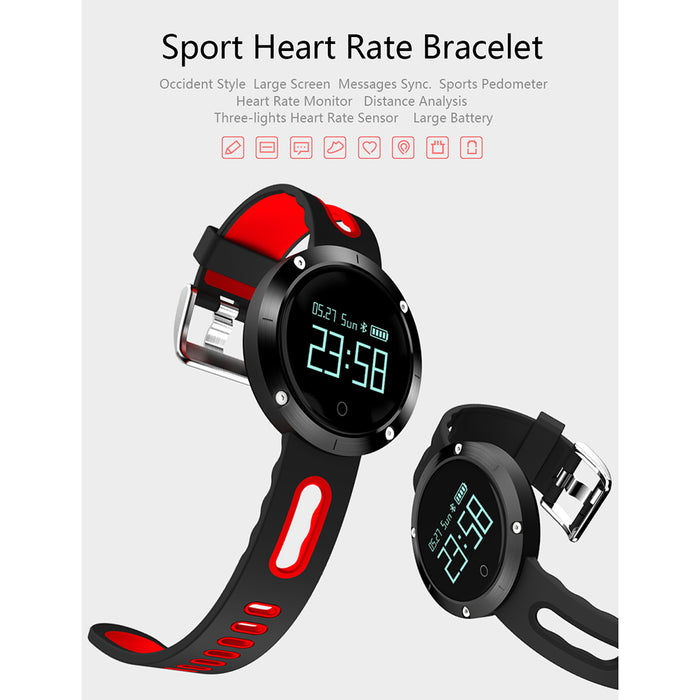 DM58 0.95 Inch Round Display Screen Smart Bracelet Heart Rate Monitor Sport Wristband Fitness Tracker Smartband (Grey)