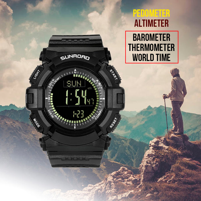 Sunroad Digital Sports Watch FR861 B - Compass, Altimeter, Barometer, Pedometer, Calorie Counter