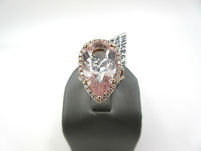 Stunning Huge 10.8ct Pear Shape Morganite & Diamond 14k Rose Gold Ring $5888.