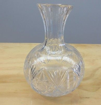 19thC Victorian HAWKES Brilliant Palermo Cut Glass Beverage Wine Carafe Decanter