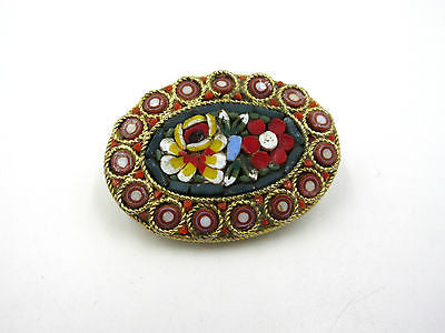 ANTIQUE OLD ITALIAN MICRO MOSAIC RED GOLD BRASS TONE FLORAL BROOCH PIN