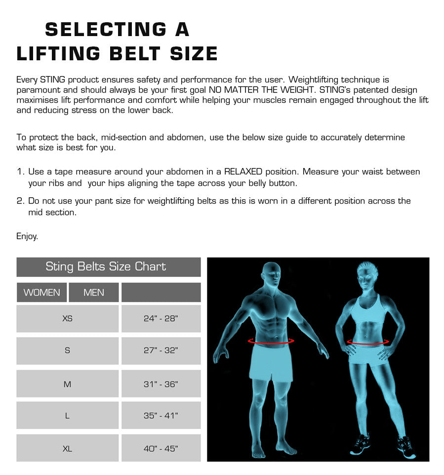 Sting Lifting Belt Size Chart