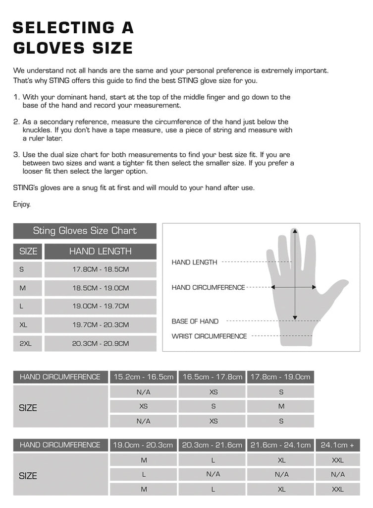 Sting Gloves Size Chart