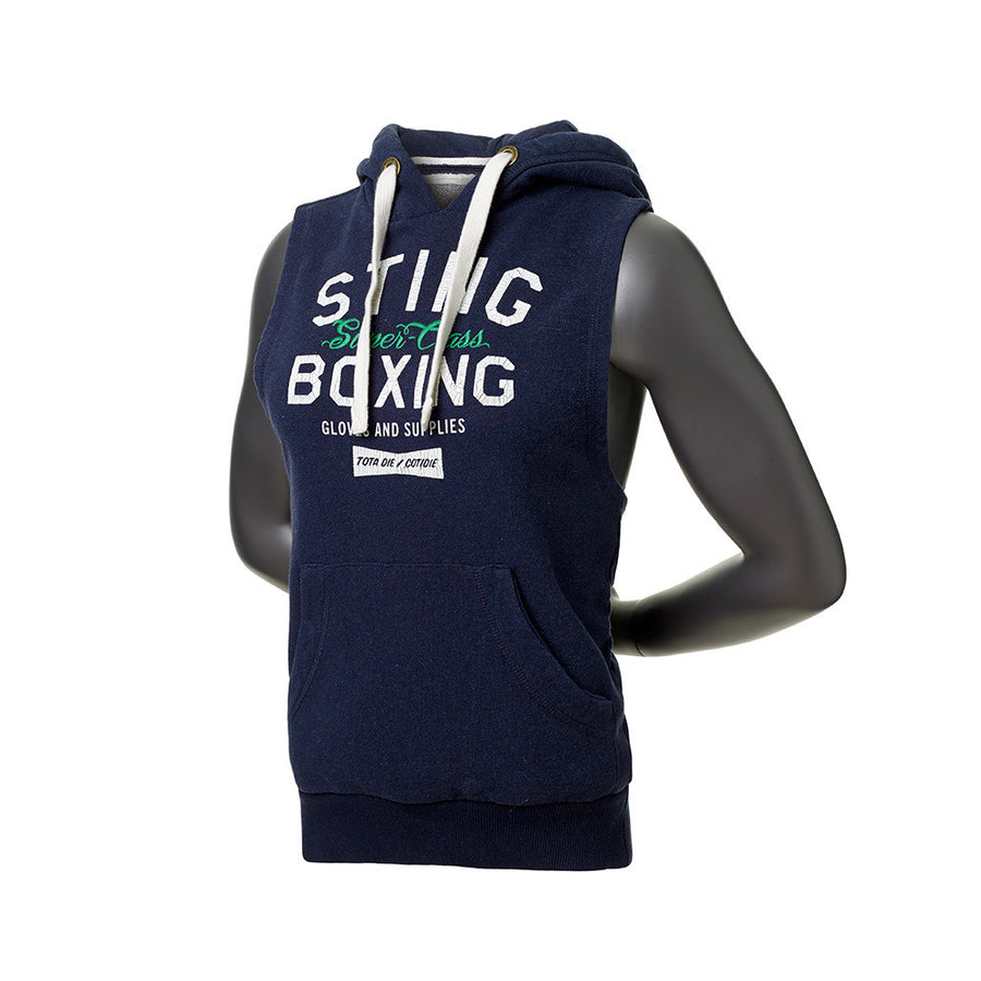 SUPER CLASS CUT-SLEEVE HOODIE - Navy - Sting Sports Australia