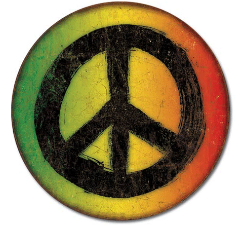 Rasta Distressed Peace Sign Tin Sign