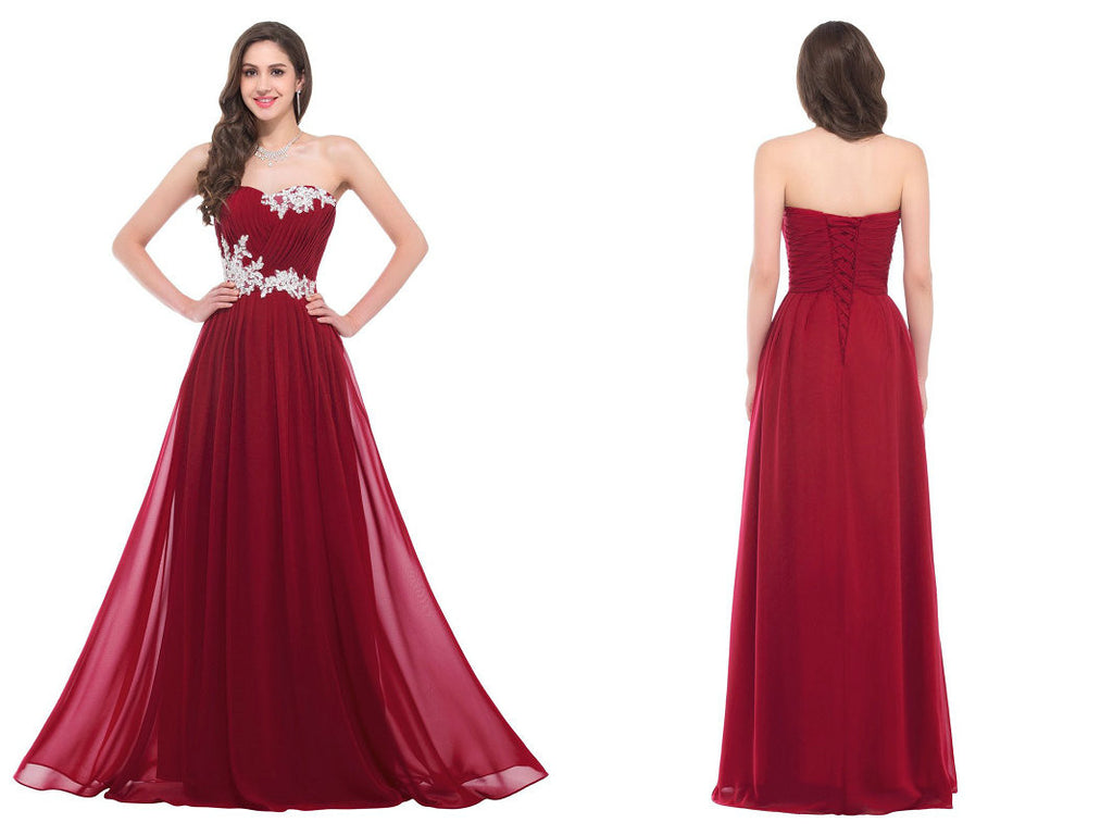 Burgundy Prom Dress, Ball Gown ,Graduation Party Dresses, Formal ...