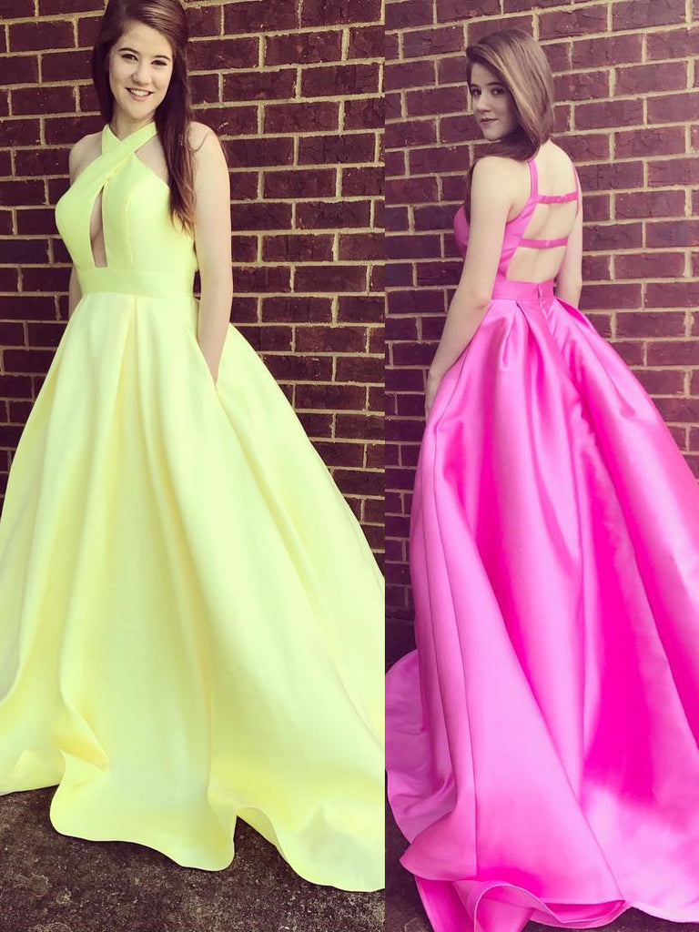 Yellow Prom Dress With Pockets, Back To School Dresses, Prom Dresses ...