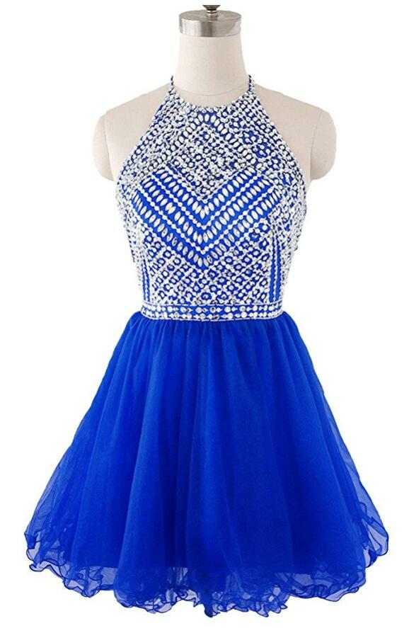 6f329107a638 Beaded Top Homecoming Dress with Halter Strap, Back To School Dresses  ,Short Prom Dress