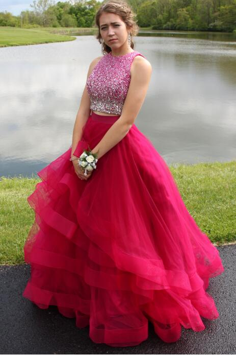 Two Pieces Hot Pink Prom Dress, Back To School Dresses, Prom Dresses ...