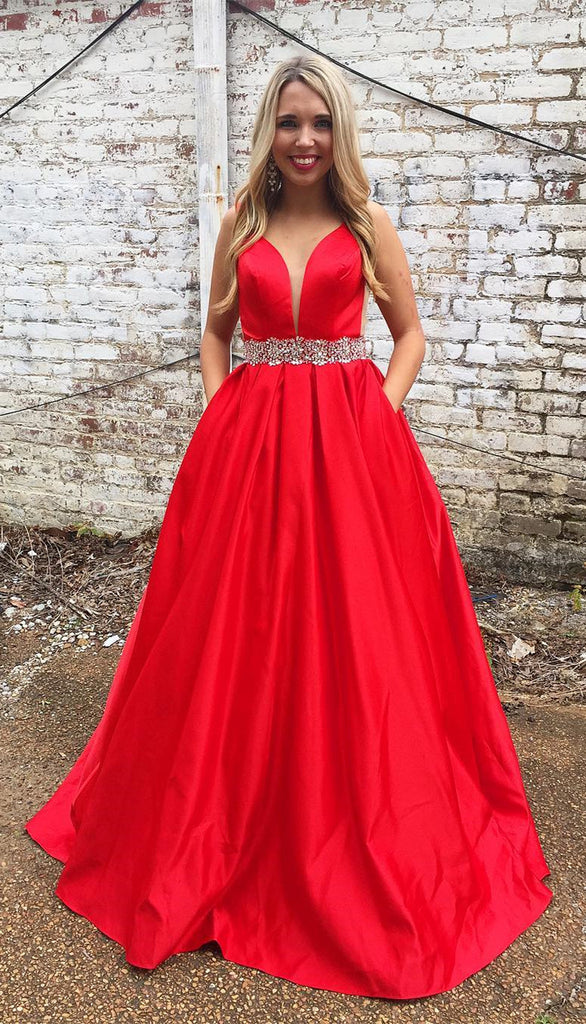bca183f1c509 Red Prom Dress with Pockets, Back To School Dresses, Prom Dresses For Teens,