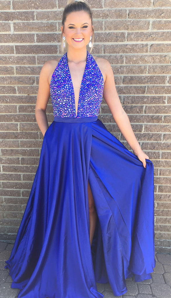 Royal Blue Prom Dress Deep V Neckline, Back To School Dresses, Prom ...