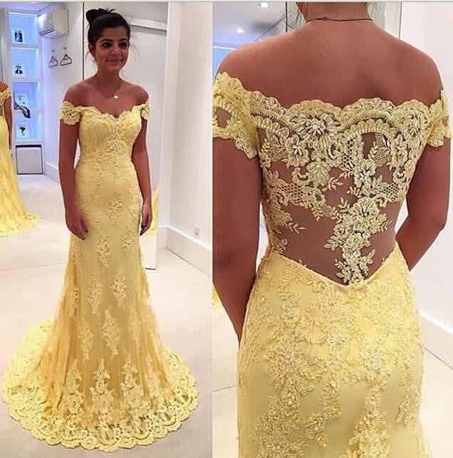 Yellow Lace Prom Dress Prom Dresses Graduation Party Dresses Formal ...