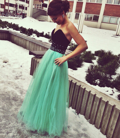 740c706a3a Black and Green Prom Dress