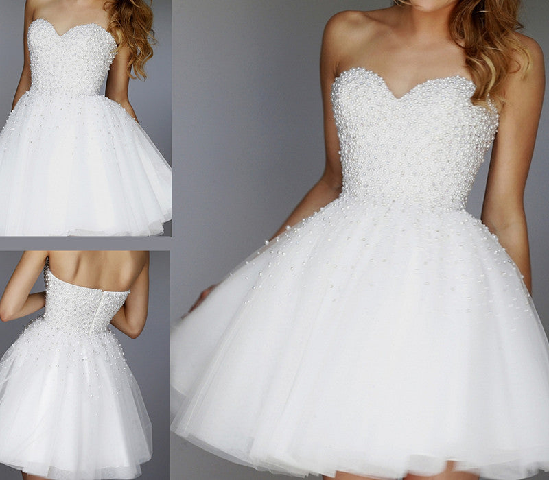 White Homecoming Dress with Pearls, Short Prom Dress, Graduation ...