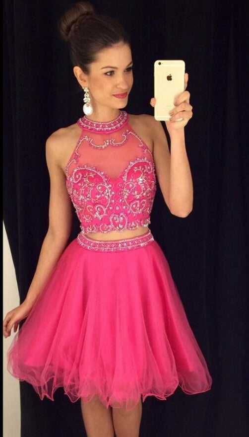 4dc8bdc7a4b Hot Pink Pink Short Prom Dress