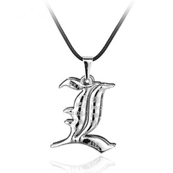 "Death Note | Necklace | Two  ""L"" Logos Pendants with Letters Cross Alloy Style"