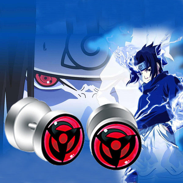 Naruto | Fake Ear Plugs Earrings | Sharingan Eyes Style