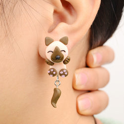 Handmade Polymer Clay Khaki Dog Style Earrings