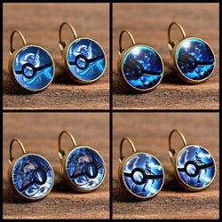 Pokemon | Drop Earrings | Blue Pokeballs Handmade 4 Styles