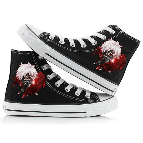 Tokyio Ghoul Shoes, Hand-Painted HIgh-Top Style, Canvas Shoes