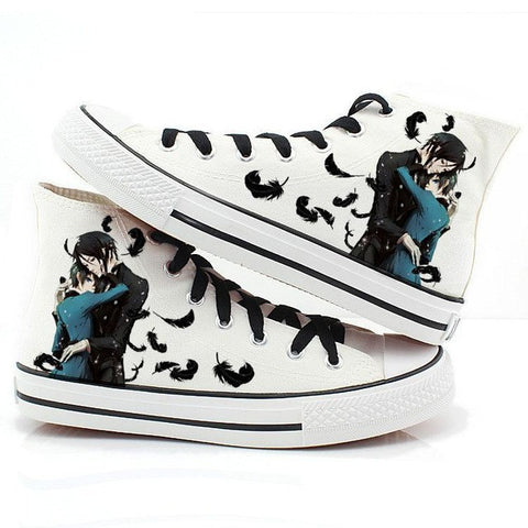Black Butler Shoes, Canvas High-Top and Casual Shoes, Hand-Painted Finish