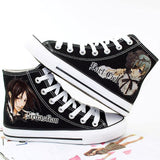 Black Butler Shoes, High-Top, canvas Hand-Painted Shoes