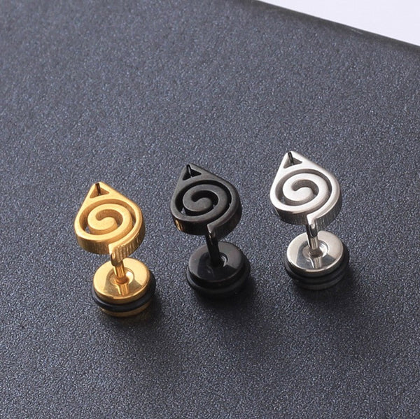 Naruto | Stud Earrings | Titanium Steel Hidden Leaf Symbol 3 Styles