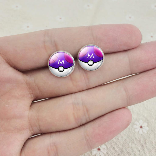 Pokemon | Stud Earrings |  Silver Plated Glass - Cabochon 7 Styles