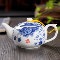 White Ceramic Teapot with Blue Floral Design