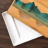 Mountain Ocean Blue Etched Tea Tray