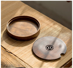 high quality two tone bamboo tea tray gong fu circular