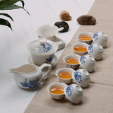 gong fu tea set gaiwan porcelain white blue fair cup strainer all in one 10 cup complete set