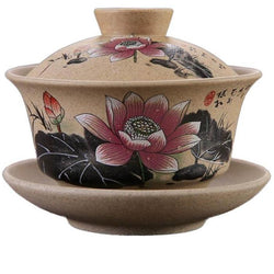 Chinese Ceramic Gaiwan Tea Ceremony Cup Hand Painted Lotus