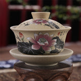 Chinese Gaiwan Tea Ceremony Cup Hand Painted Lotus