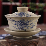 Chinese Gaiwan Tea Ceremony Cup Hand Painted Blue Rose