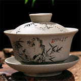 Chinese Gaiwan Tea Ceremony Cup Hand Painted Bamboo Mountains