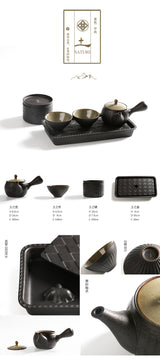 Five Elements Styled Travel Gift Gong Fu Tea Set - Earth