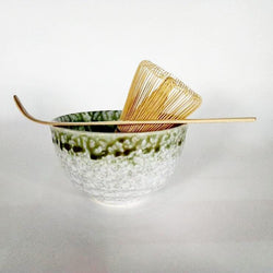 Moss Drip Glaze Japanese Tea Ceremony Matcha Tea Set with Cup, Whisk and Scoop
