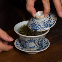 Antique Style Porcelain Gaiwan with Blue Adornment