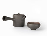 Cylindrical Japanese Style Black Ceramic Teapot
