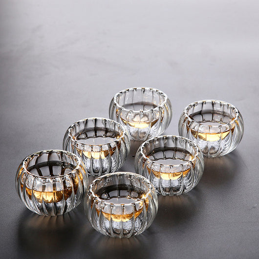 Set of 6 Clear hand made double wall glass tea cups