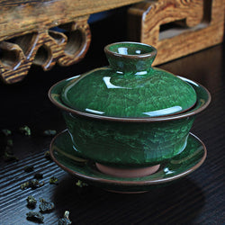Green crackle gaiwan teacup ceramic glaze partial