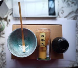 Handmade Matcha Gift Set Whisk, Stand, Scoop and Bowl