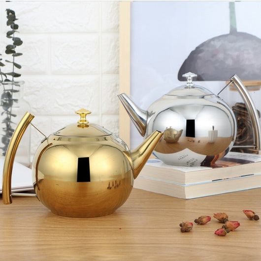 Stainless Steel Tea Kettle in Silver or Gold Finish