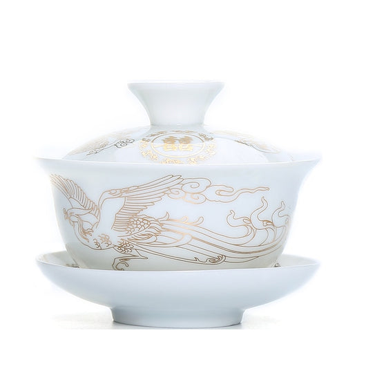 White Porcelain Gaiwan with Gold Phoenix