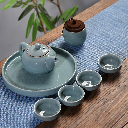 Ceramic Portable Travel Set with Tea Pot, Four Cups and Tea Canister, Tray