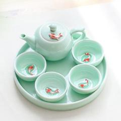 chinse lonquan kiln celadon blue ceramic porcelain tea set koi fish tea pot cup tray
